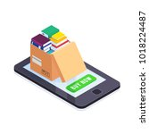 electronic books isometric...   Shutterstock .eps vector #1018224487