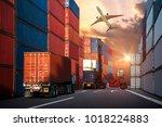 industrial container cargo... | Shutterstock . vector #1018224883