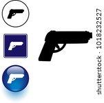 gun symbol sign and button | Shutterstock .eps vector #1018232527