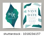 set of wedding card template... | Shutterstock .eps vector #1018236157