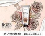 rose hand cream ads  exquisite... | Shutterstock .eps vector #1018238137