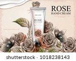 rose hand cream ads  exquisite... | Shutterstock .eps vector #1018238143