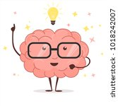brain with glasses and light... | Shutterstock .eps vector #1018242007