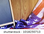 chalkboard and usa flag on...   Shutterstock . vector #1018250713