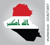 flag map of iraq | Shutterstock .eps vector #1018271857