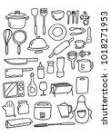 doodle kitchenware set  vector   Shutterstock .eps vector #1018271953