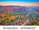 aerial view of the fields ... | Shutterstock . vector #1018286407