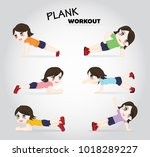 plank exercise workout girl set ... | Shutterstock .eps vector #1018289227