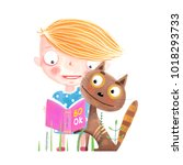 little kid and cat with book.... | Shutterstock . vector #1018293733