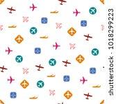 plane pattern. seamless... | Shutterstock .eps vector #1018299223