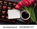 red tulip flowers bouquet ... | Shutterstock . vector #1018300747