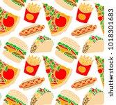 fast food vector illustration... | Shutterstock .eps vector #1018301683