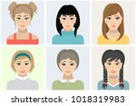 women flat avatars set with...