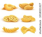 realistic cooking pasta types... | Shutterstock .eps vector #1018321327