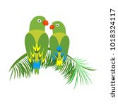 icon of a sitting parrot.... | Shutterstock .eps vector #1018324117