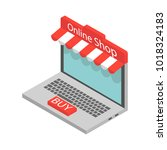 the idea of online shopping ... | Shutterstock .eps vector #1018324183