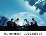 asian business group using... | Shutterstock . vector #1018325833
