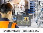 industry 4.0 robot concept ... | Shutterstock . vector #1018331557