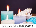 spa candle and salt. cosmetic... | Shutterstock . vector #1018334797