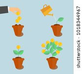growing money tree. plant...   Shutterstock .eps vector #1018344967