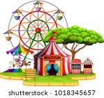 amusement park scene at daytime   Shutterstock . vector #1018345657