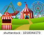amusement park scene at daytime ... | Shutterstock . vector #1018346173