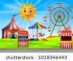 amusement park scene at daytime ... | Shutterstock . vector #1018346443