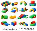 set of colorful equipment in a... | Shutterstock .eps vector #1018358383