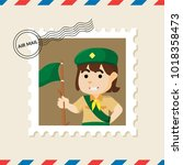 girl scout postage stamp on air ... | Shutterstock .eps vector #1018358473