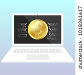 storage bitcoin on a laptop.... | Shutterstock .eps vector #1018361617