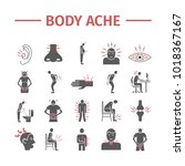 body pain and injury flat icons ... | Shutterstock .eps vector #1018367167