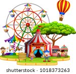 people having fun in circus | Shutterstock . vector #1018373263
