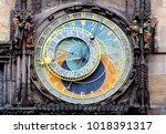 prague astronomical clock ... | Shutterstock . vector #1018391317