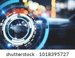 car with modern digital... | Shutterstock . vector #1018395727