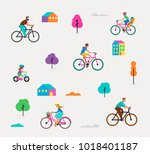 people riding on bicycles in... | Shutterstock .eps vector #1018401187