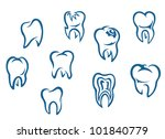 Human teeth set isolated on white background for dental medicine background, such logo. Jpeg version also available in gallery - stock vector