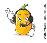 with headphone butternut squash ... | Shutterstock .eps vector #1018408687