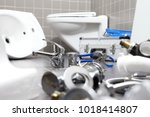 plumber tools and equipment in... | Shutterstock . vector #1018414807