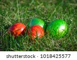 group of painted easter eggs on ... | Shutterstock . vector #1018425577