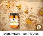 wildflower honey ads  bees... | Shutterstock .eps vector #1018429903