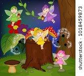 fairies in forest   vector... | Shutterstock .eps vector #1018459873