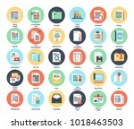 vector set of files and... | Shutterstock .eps vector #1018463503