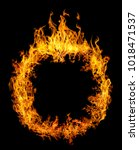 circle of orange flame isolated ... | Shutterstock . vector #1018471537