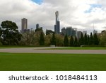 melbourne city with park... | Shutterstock . vector #1018484113