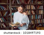study reading lovely attractive ... | Shutterstock . vector #1018497193