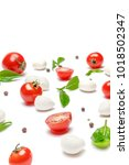italian mozzarella cheese and... | Shutterstock . vector #1018502347