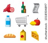 set of grocery supermarket flat ... | Shutterstock .eps vector #1018504897