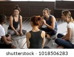 sporty happy multi ethnic... | Shutterstock . vector #1018506283