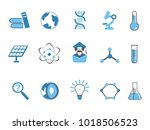 blue color science icons set  | Shutterstock .eps vector #1018506523