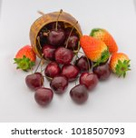 strawberries and cherries  with ...   Shutterstock . vector #1018507093
